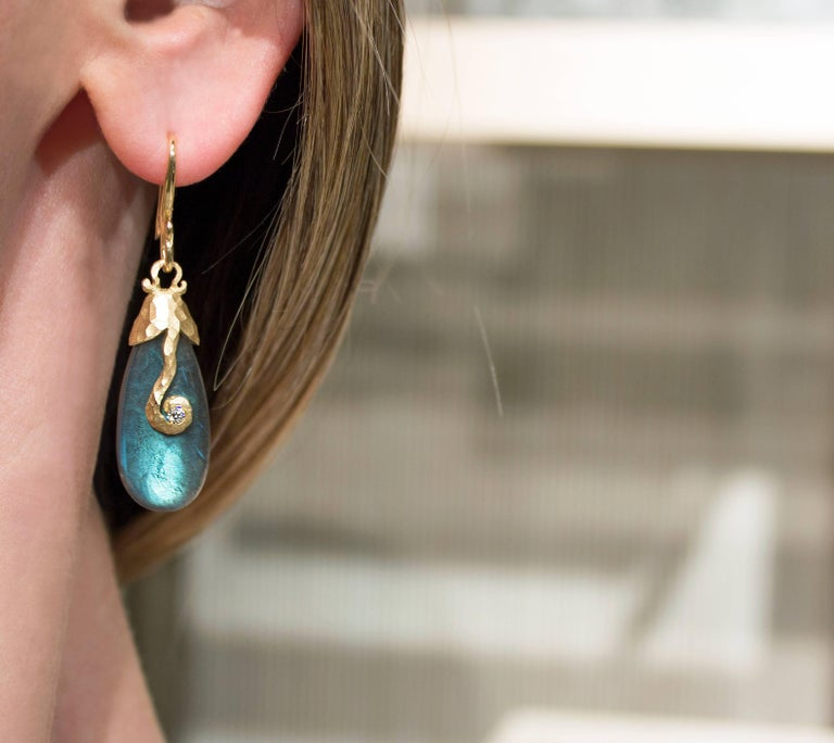 Scroll Crush Cap Earrings handcrafted by award winning jewelry artist Pamela Froman in hammered and matte-finished 18k yellow gold featuring a matched pair of glowing labradorite drops totaling 35.21 carats and accented with 0.086 total carats of
