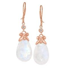 Pamela Froman Smooth Rainbow Moonstone Briolette Diamond Rose Gold Earrings