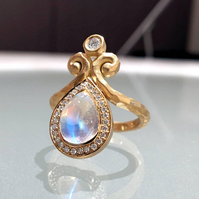 Pear Cut Pamela Froman One of a Kind Rainbow Moonstone White Diamond Hammered Gold Ring