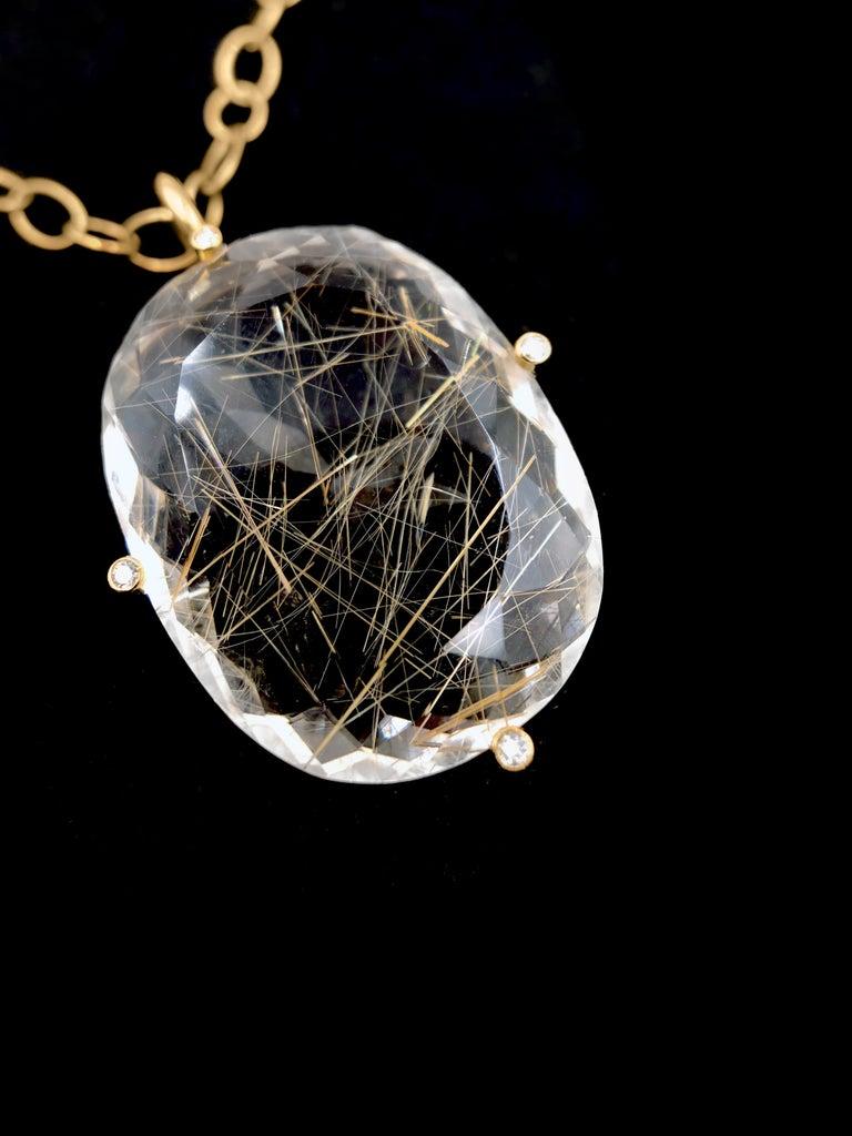 Modern Erich Zimmermann Golden Rutilated Quartz White Diamond Rose Gold Long Necklace For Sale