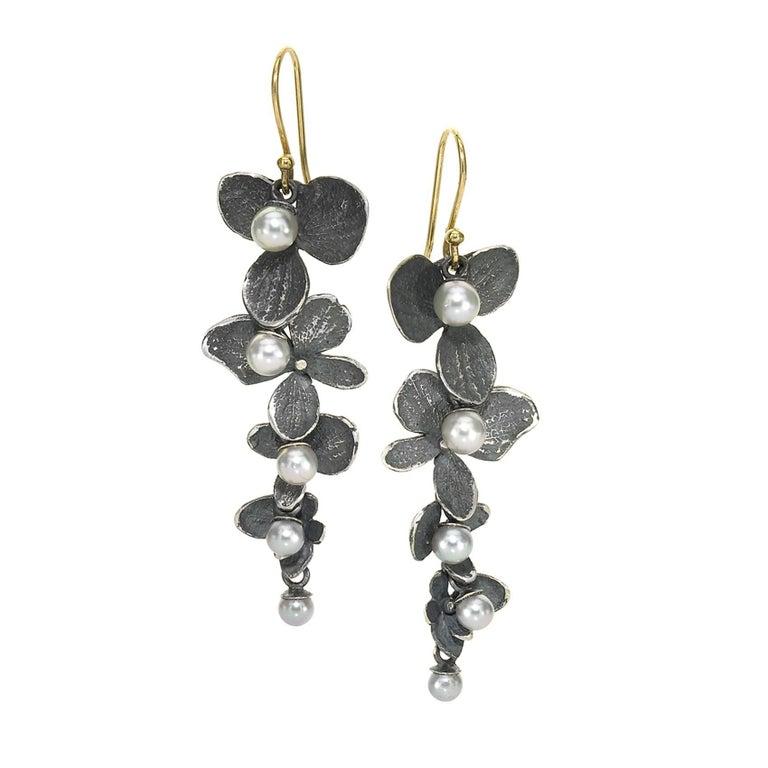 John Iversen Silver Pearl Oxidized Silver Hydrangea Petal Drop Earrings