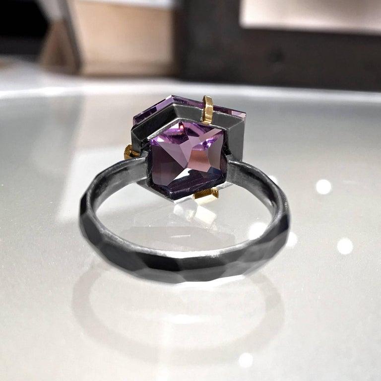Artist Elizabeth Garvin Custom Cut Amethyst Gold Oxidized Silver Ring For Sale