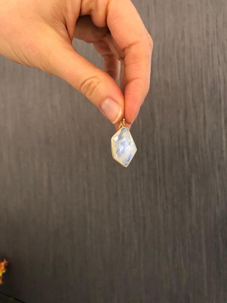 Artist Kothari One of a Kind Geometric Faceted Moonstone Dangle Drop Earrings For Sale