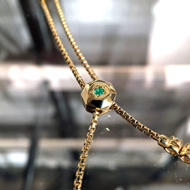 Women's Fern Freeman One of a Kind Emerald and Diamond Gold Box Chain Bolo Bracelet For Sale