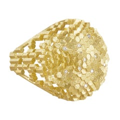 Jo Hayes Ward White Diamond Hex Dome Structures Reflective Gold Ring