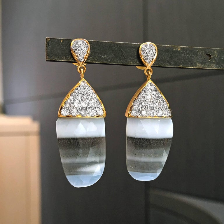 One of a Kind Earrings handmade in matte-finished 18k yellow gold by jewelry designer Lauren Harper featuring a matched pair of faceted African striped opal and white sapphires prong-set in 18k white gold. Stamped and hallmarked.