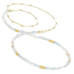 Petra Class Faceted Ethiopian Opal Strand with Detachable Chain Double Necklace