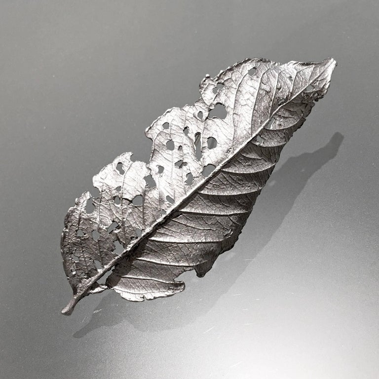 John Iversen One of a Kind Rhodium Sterling Silver Leaf Pin In New Condition For Sale In Dallas, TX