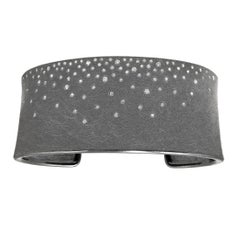 Todd Reed Brilliant Cut White Diamond Silver Patina Cuff Bracelet