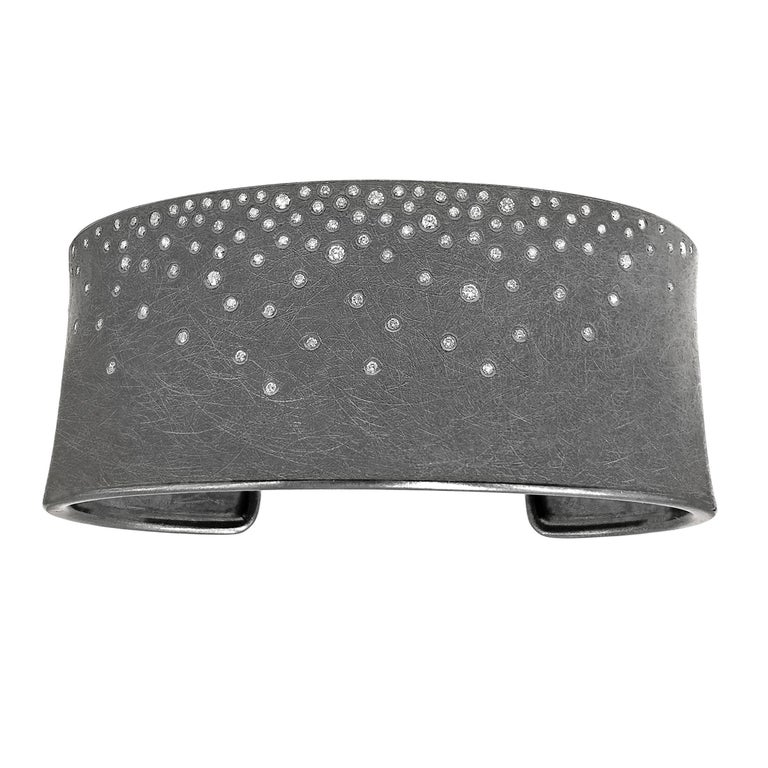 Todd Reed Brilliant Cut White Diamond Silver Patina Cuff Bracelet For Sale