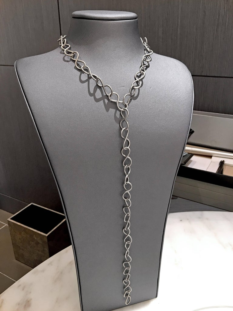 Antonio Bernardo Matte Silver Infinity Links Chain Long