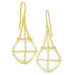 Kothari White Diamond Rock Crystal Sphere Gravity Drop Earrings