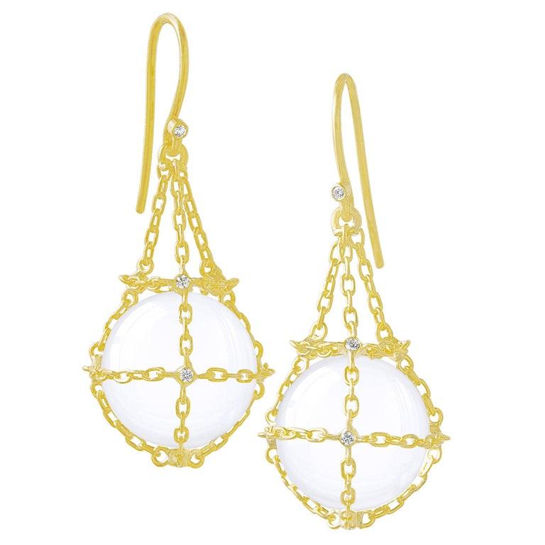 Kothari White Diamond Rock Crystal Sphere Gravity Drop Earrings