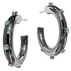Fern Freeman Black Rhodium Mirror Tsavorite Garnet Yellow Gold Hoop Earrings