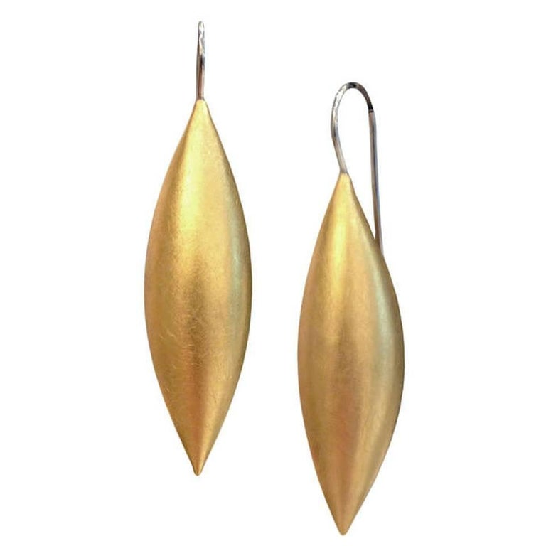Erich Zimmermann Medium Cocoon Pod Gold and Platinum Earrings