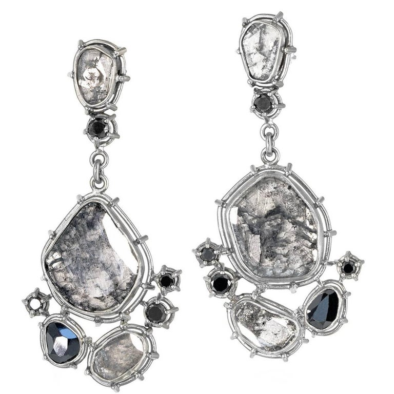 Tura Sugden One of a Kind Grey and Black Diamond Palladium Gold Drop Earrings