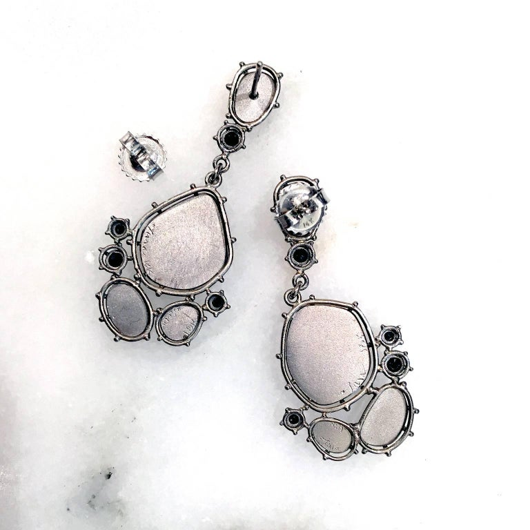Mens Tura Sugden One Of A Kind Grey And Black Diamond Palladium Gold Drop Earrings For