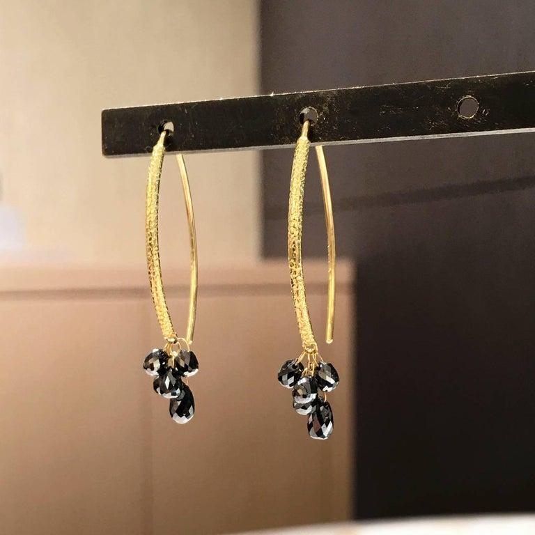 Artist Barbara Heinrich Shimmering Faceted Black Diamond Gold Briolette Drop Earrings