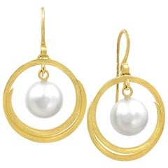 Barbara Heinrich South Sea Pearl Open Spiral Swirl Drop Earrings