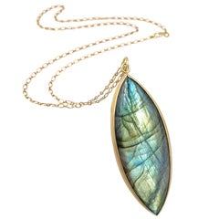 Monica Marcella Labradorite Navette One of a Kind Drop Necklace