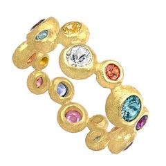 Barbara Heinrich Vibrant Multi-Color Sapphire Matte Gold Random Bubble Band Ring