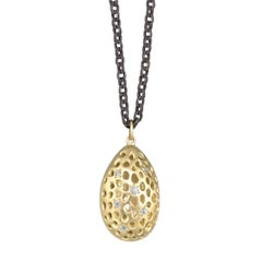 Long White Diamond Gold Oxidized Silver Double Almond Element Drop Necklace