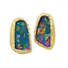Devta Doolan Opal Doublet Rainbow Confetti Fire Stud Earrings