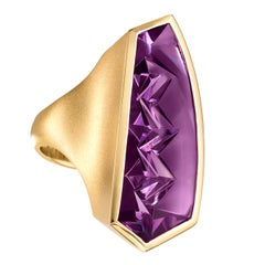 Atelier Munsteiner One of a Kind Fancy Cut Purple Amethyst Vertical Curve Ring