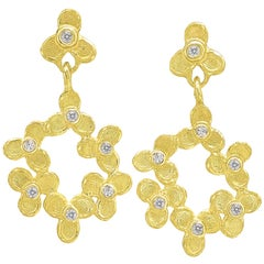 Barbara Heinrich White Diamond Trillium Flower Drop Gold Earrings