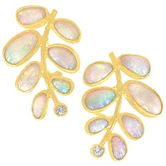 Petra Class One of a Kind Ethiopian Opal Diamond Leaf Post Clip Earrings