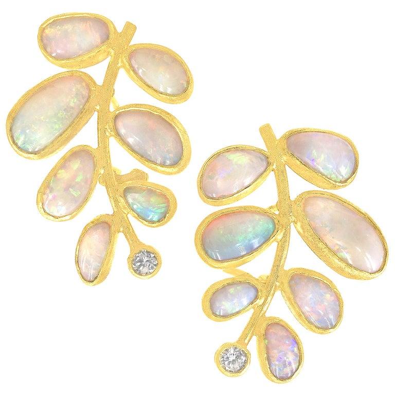Petra Class One of a Kind Ethiopian Opal Diamond Leaf Post Clip Earrings