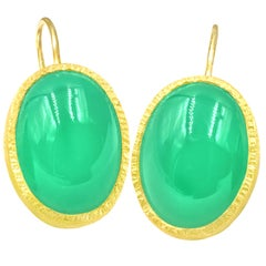 Devta Doolan Vibrant Green Chrysoprase Drop Handmade Textured Gold Earrings