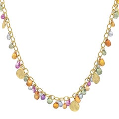 Barbara Heinrich Multicolored Sapphire Faceted Briolette Gold Petals Necklace