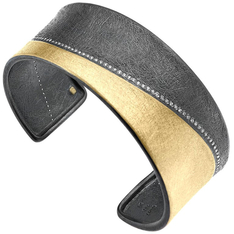 Todd Reed Brilliant Cut White Diamond Gold Patina Silver Curve Cuff Bracelet