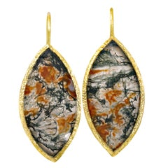 Devta Doolan Matched Natural Agate Marquise Gold Drop Earrings