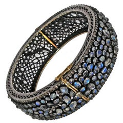 Lauren Harper Blue Moonstone Diamond Silver Gold Bubble Cuff Bracelet
