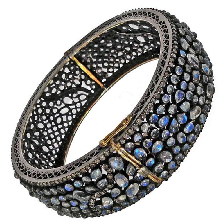 Lauren Harper Blue Moonstone Diamond Silver Gold Bubble Cuff Bracelet For Sale