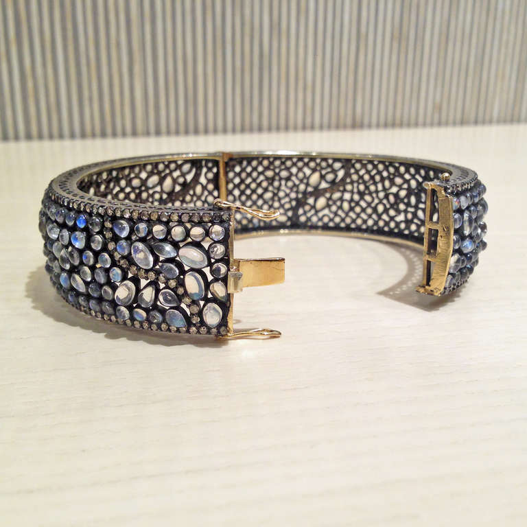 Round Cut Lauren Harper Blue Moonstone Diamond Silver Gold Bubble Cuff Bracelet For Sale