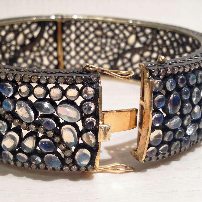 Lauren Harper Blue Moonstone Diamond Silver Gold Bubble Cuff Bracelet In New Condition For Sale In Dallas, TX