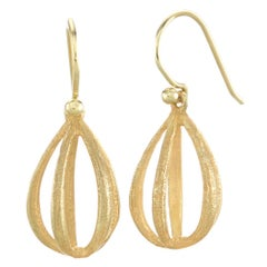 John Iversen Handmade Gold Apartment Drop Earrings