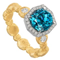 Pamela Froman Fancy-Cut Cambolite Blue Zircon White Diamond Gold Crush Ring