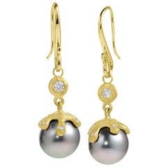 Pamela Froman Fine Tahitian Pearl White Diamond Gold Handmade Drip Cap Earrings