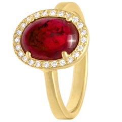 Rebecca Overmann Vintage Unheated 3.01ct Natural Ruby White Diamond Gold Ring