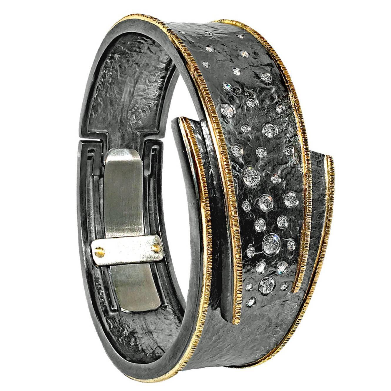 Elizabeth Garvin Diamond Embedded Silver Gold Hinged Cuff Cyclone Bracelet