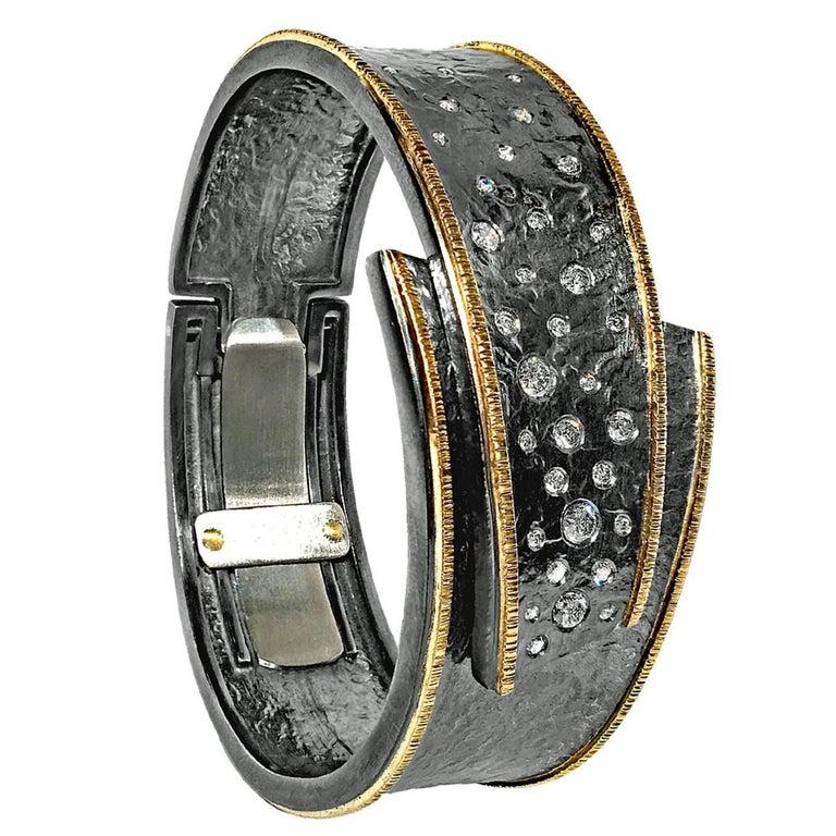 Elizabeth Garvin Diamond Embedded Silver Gold Hinged Cuff Cyclone Bracelet For Sale