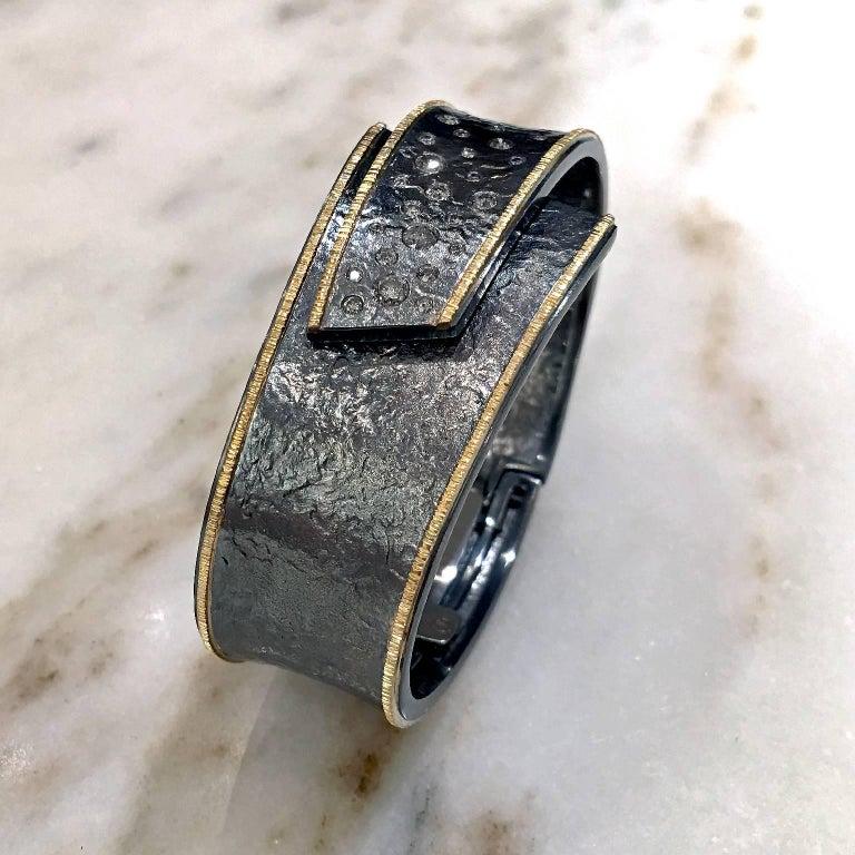 Round Cut Elizabeth Garvin Diamond Embedded Silver Gold Hinged Cuff Cyclone Bracelet For Sale