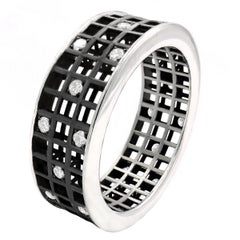Roule and Co. White Diamond Black Gold Three-Row Open Pixel Dust Band Ring