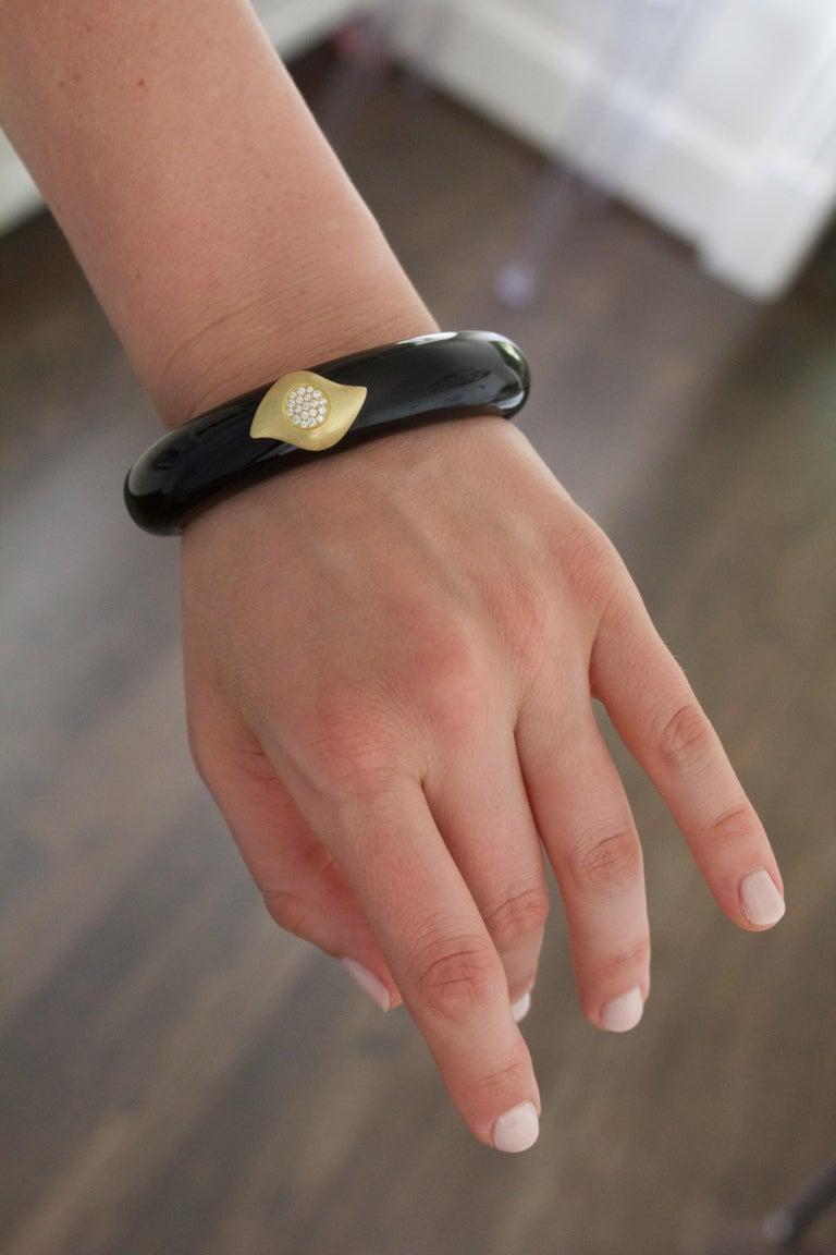 Modern Susan Sadler Vintage Black Bakelite White Diamond Gold Two-Piece Cuff Bracelet For Sale