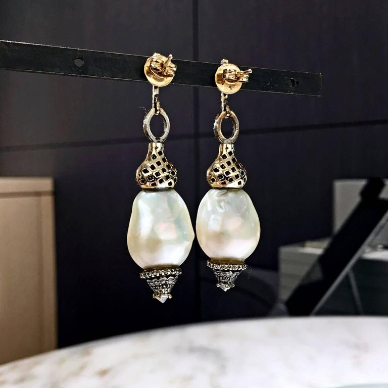 Artist One of a Kind Baroque Pearl White Diamond Hollywood Drop Earrings For Sale