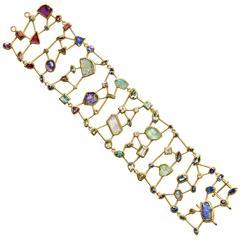 Petra Class Diamond Sapphire Tanzanite Aqua Garnet Amethyst Masterpiece Bracelet